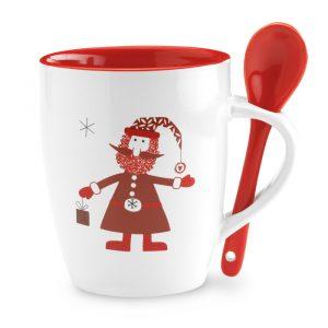 Keramična skodelica z žlico z likom Božička