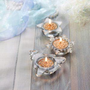 Komplet 3 okrasnih steklenih svečnikov