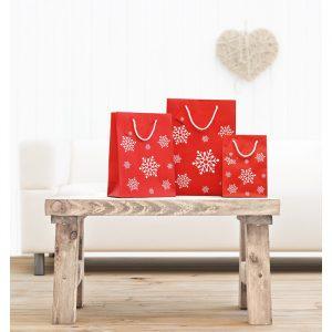Elegantna darilna papirnata vrečka z vzorcem snežink S