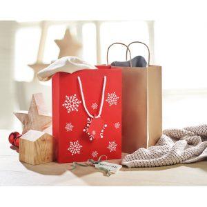 Elegantna darilna papirnata vrečka z vzorcem snežink M
