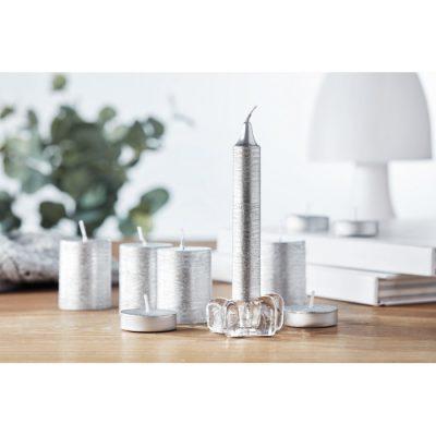 Set 2 srebrnih sveč s steklenim svečnikom